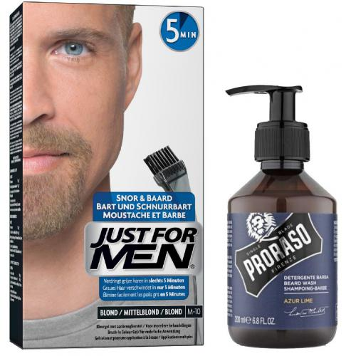 Just For Men - COLORATION BARBE Blond & Shampoing à Barbe 200ml Azur Lime - Promos cosmétique et maroquinerie