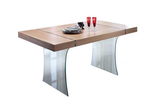 Table a manger en verre et bois