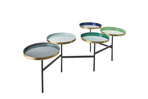 Table basse 4 plateaux bleu iris gris Librico