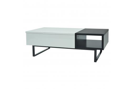 Table basse avec rangement blanc gris Blaise