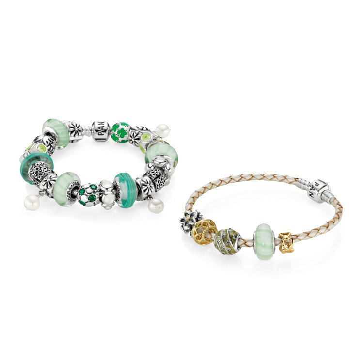 bracelet type pandora breloques vert