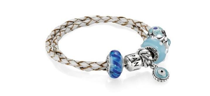 bracelet cuir pandora bleu