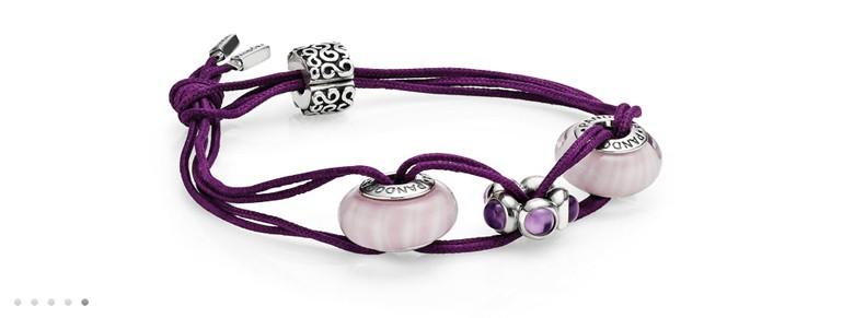 bracelet Pandora charms murano rose