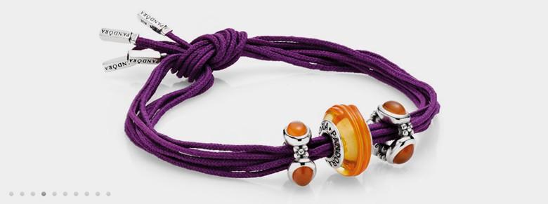 bracelet Pandora charms murano empierres noeud simple