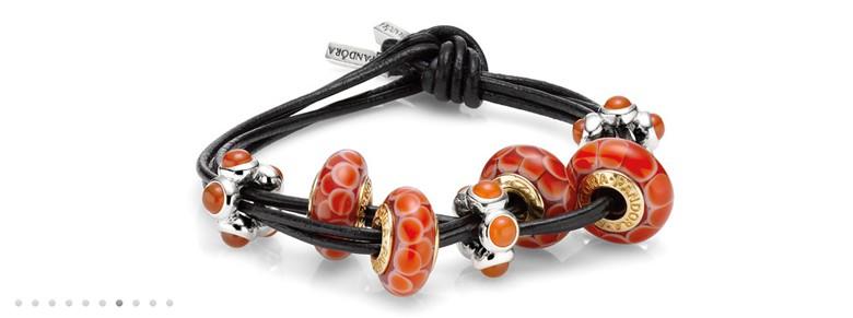 bracelet Pandora multicordons cuir noeud simple
