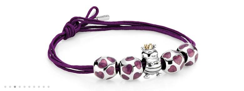 bracelet Pandora charms coeurs noeud simple