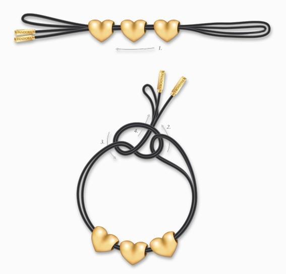 schema bracelet Pandora noeuds simples