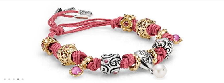 bracelet Pandora noeud diviseur rose et or