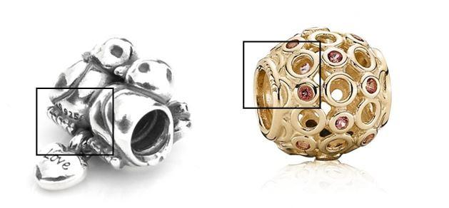 Charm Pandora argent fin et charm Pandora or fin
