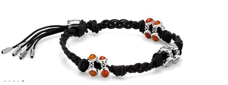 bracelet Pandora noir et orange noeuds tresses