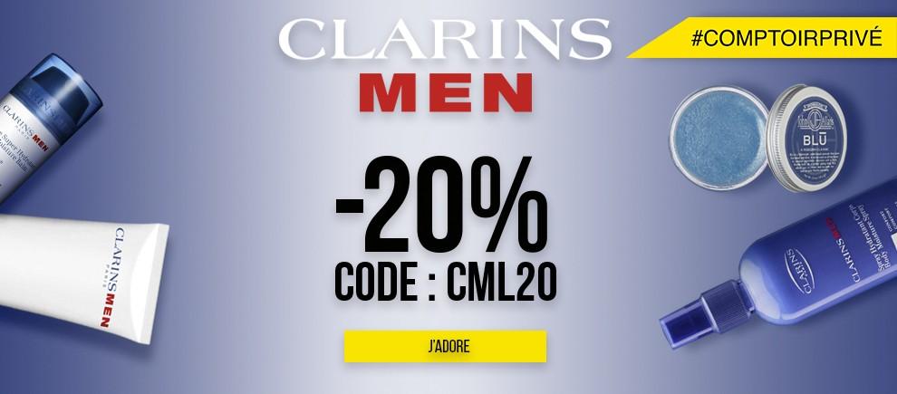 Profitez de l'offre -20% sur les produits Clarins Men