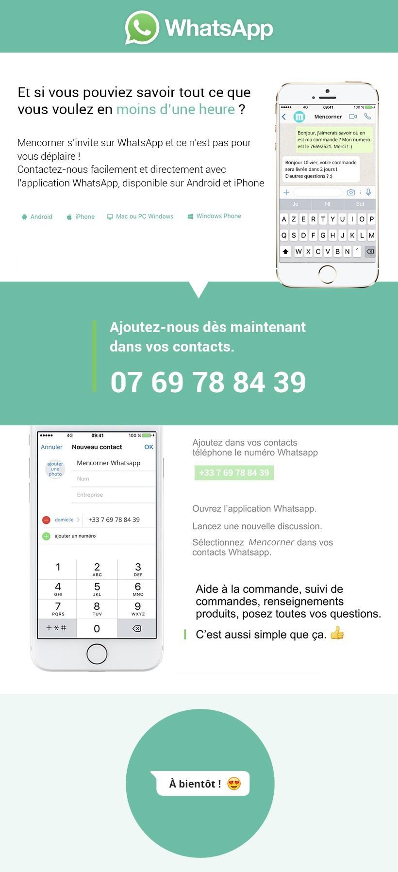 Service Client Whatsapp Mencorner