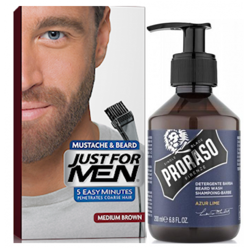 Just For Men - COLORATION BARBE Châtain & Shampoing à Barbe 200ml Azur Lime - Rasage homme