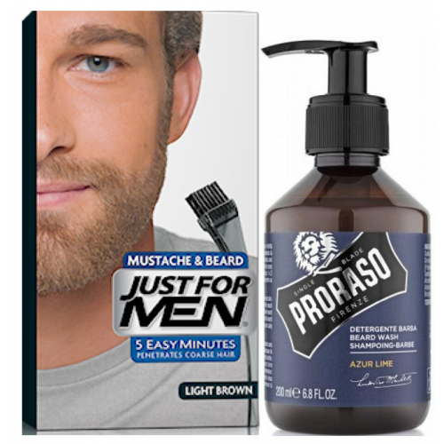 Just For Men - COLORATION BARBE Châtain Clair & Shampoing à Barbe 200ml Azur Lime - Rasoir homme