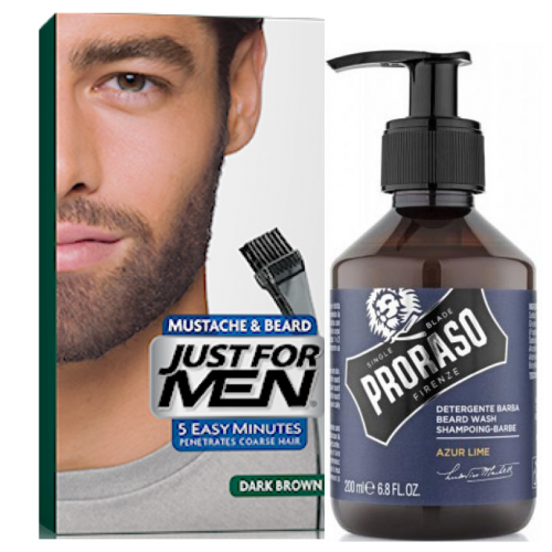 Just For Men - PACK COLORATION BARBE Châtain Foncé & Shampoing à Barbe 200ml Azur Lime - Teinture barbe