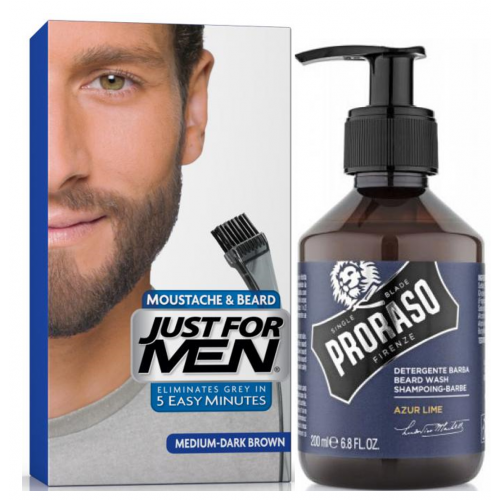 Just For Men - COLORATION BARBE Châtain Moyen Foncé & Shampoing à Barbe 200ml Azur Lime - Shampoing barbe