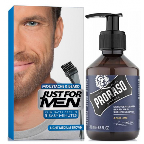Just For Men - COLORATION BARBE Chatain Moyen Clair & Shampoing à Barbe 200ml Azur Lime - Coloration just for men