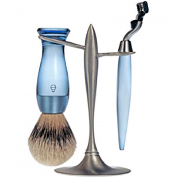 set rasage 3 pieces bleu stand t e shave rasoir. Black Bedroom Furniture Sets. Home Design Ideas