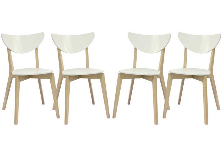 lot de 4 chaises en bois koja blanc bois design pas cher sur sofactory. Black Bedroom Furniture Sets. Home Design Ideas