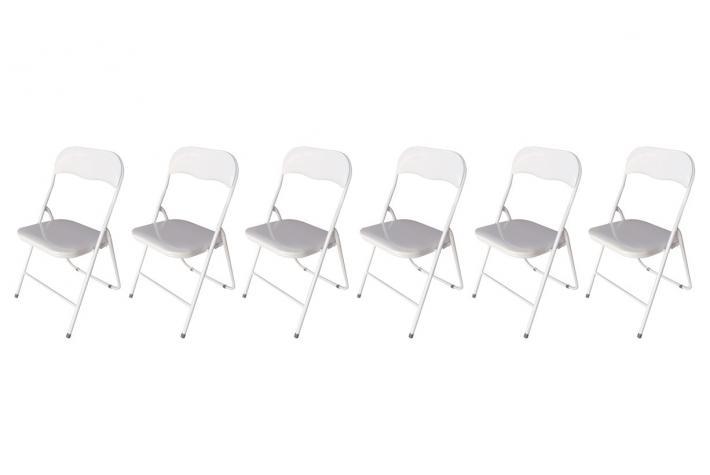 Lot de 6 chaises pliantes jackie blanc design pas cher sur - Chaise pliante blanche pas cher ...