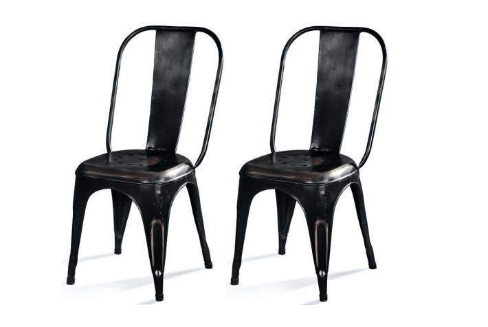 Lot de 2 chaises en m tal newton antic design pas cher sur sofactory - Chaise industriel pas cher ...