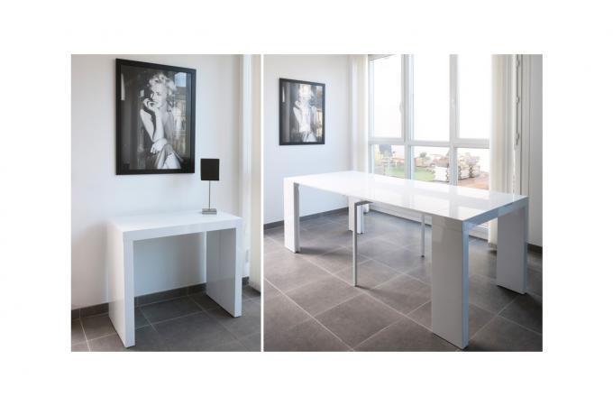 Console extensible laqu blanc 225cm table console pas cher - Console blanc laque extensible ...