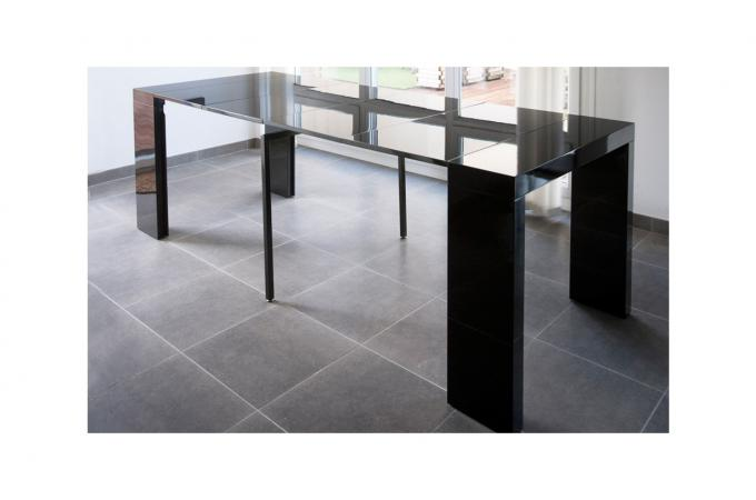 console extensible laqu e noir 250cm table console pas cher. Black Bedroom Furniture Sets. Home Design Ideas