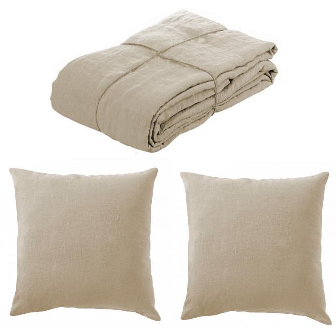 parure housse de couette lin lave 220x240 et 2 taies d 39 oreillers 65 x 65 ficelle housse de. Black Bedroom Furniture Sets. Home Design Ideas