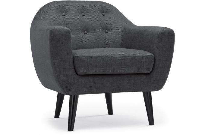 Fauteuil scandinave fidelio tissu gris fonc fauteuil - Fauteuil style scandinave pas cher ...