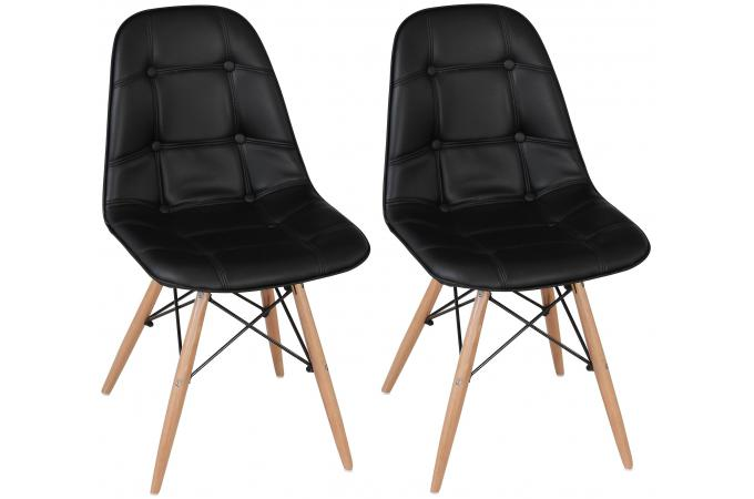 lot de 2 chaises loana capitonn es design pieds bois noires chaise design pas cher. Black Bedroom Furniture Sets. Home Design Ideas