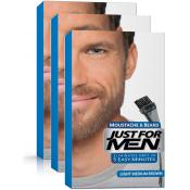 Just For Men - PACK 3 COLORATIONS BARBE - Chatain Moyen Clair - Entretenir sa barbe