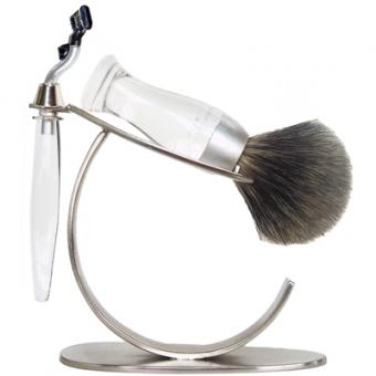 SET RASAGE 3 PIECES TRANSPARENT STAND O E Shave