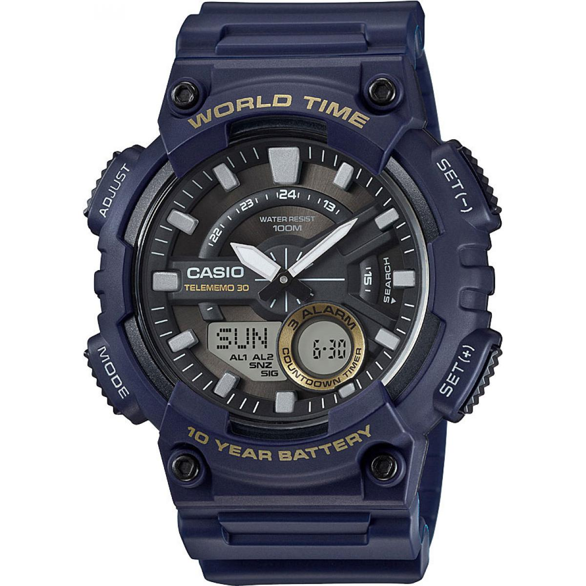 Montre Casio Collection AEQ-110W-2AVEF - Montre Décennale Bleue Homme