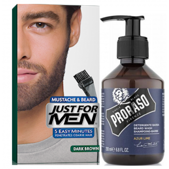 Just For Men - PACK COLORATION BARBE Châtain Foncé & Shampoing à Barbe 200ml Azur Lime - Coloration just for men