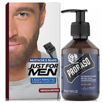 Just For Men - COLORATION BARBE Châtain & Shampoing à Barbe 200ml Azur Lime - Coloration just for men