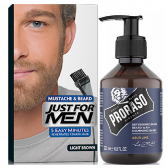 Just For Men - COLORATION BARBE Châtain Clair & Shampoing à Barbe 200ml Azur Lime - Coloration just for men