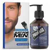Just For Men - COLORATION BARBE Châtain Moyen Foncé & Shampoing à Barbe 200ml Azur Lime - Coloration homme chatain fonce