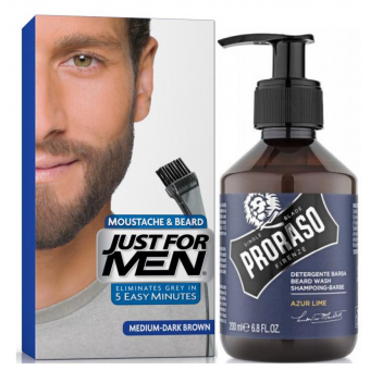 Just For Men - COLORATION BARBE Châtain Moyen Foncé & Shampoing à Barbe 200ml Azur Lime - Coloration just for men
