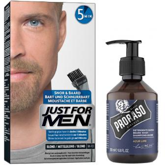 Just For Men - COLORATION BARBE Blond & Shampoing à Barbe 200ml Azur Lime - Coloration just for men
