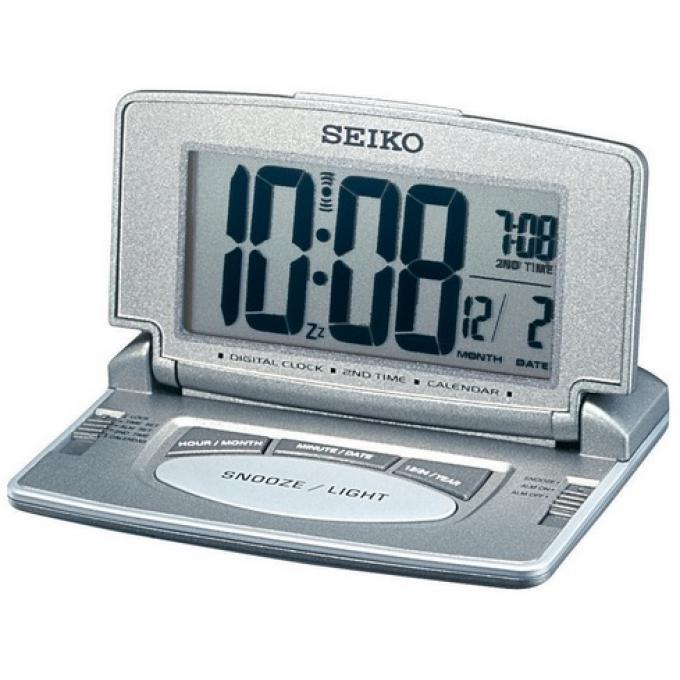 reveil de voyage metallise affichage digital seiko clocks montre homme. Black Bedroom Furniture Sets. Home Design Ideas