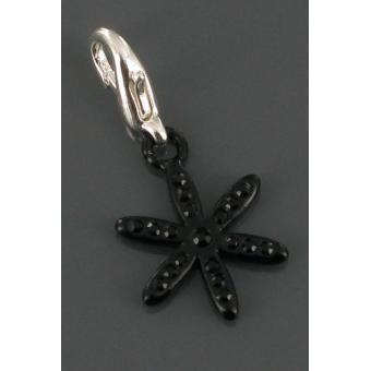 Charms fleur noire strass - Philae