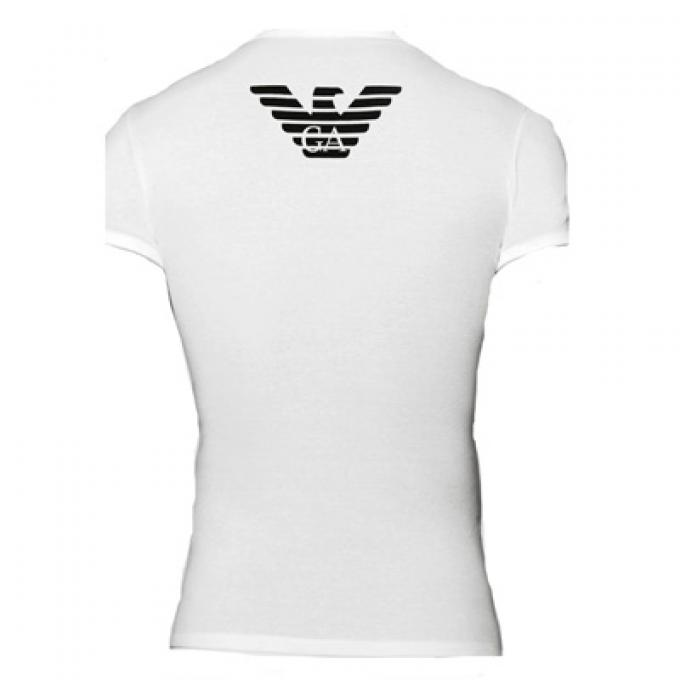 tee shirt col v gros logo moulant emporio armani underwear tee shirt homme. Black Bedroom Furniture Sets. Home Design Ideas