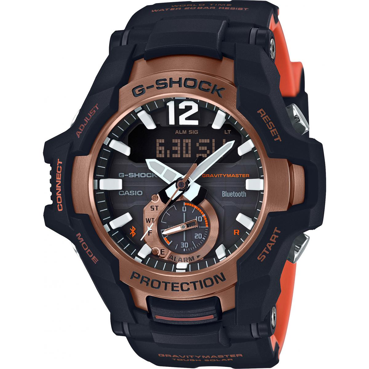 Montre Casio GR-B100-1A4ER - G-Shock Gravity Master Of G Connectée Noire et Orange Homme