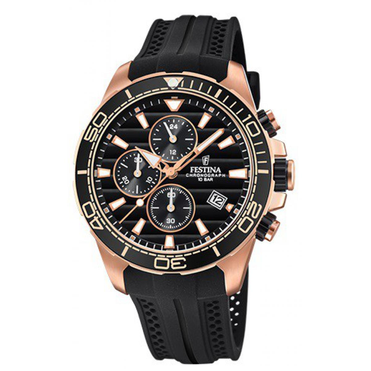 Montre Festina Originals F20367-1 - Montre Chronographe Dateur Noir Homme