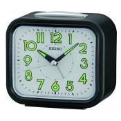 Seiko Clocks Homme - REVEIL CARRE BLANC AIGUILLES FLUORESCENTES - Idées Cadeaux