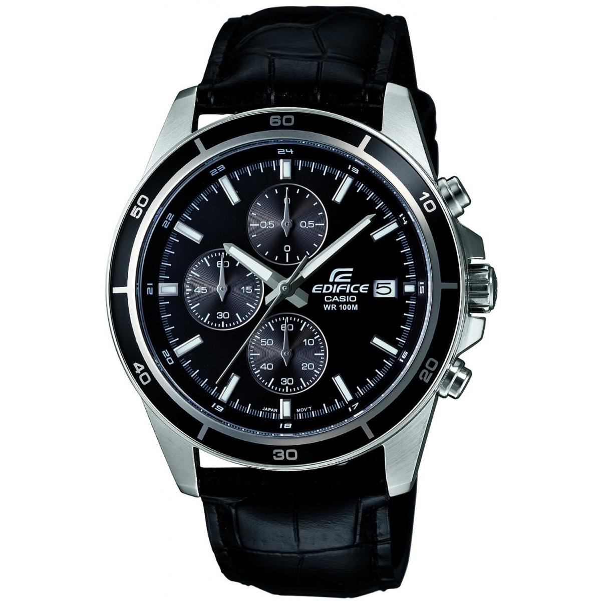 Montre Homme Casio EDIFICE EFR-526L-1AVUEF - Montre Chrono sport cuir