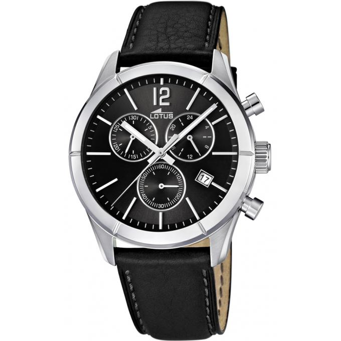 montre lotus l15850 6 montre chrono cuir noire homme. Black Bedroom Furniture Sets. Home Design Ideas