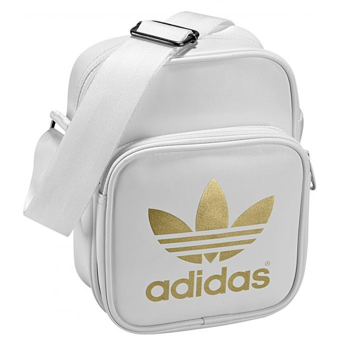 sacoche mini bag blanche avec imprim logo dor adidas. Black Bedroom Furniture Sets. Home Design Ideas