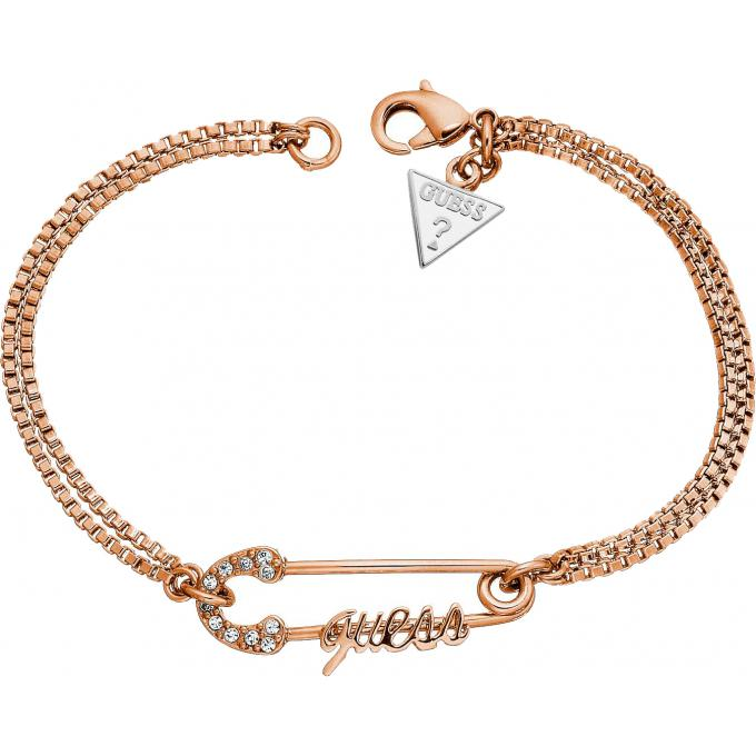 Bracelet Guess Bijoux CORE ROSE GOLD UBB11390 , Bracelet Doré Logo Guess en  Epingle , Guess