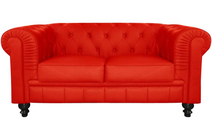 Canap chesterfield cuir rouge capitonn 2 places declikdeco - Canape chesterfield rouge cuir ...